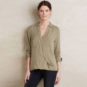 Anthropologie holding horses green wrap top 2